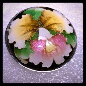 CLOISONNÉ Floral Pendant + Brooch.